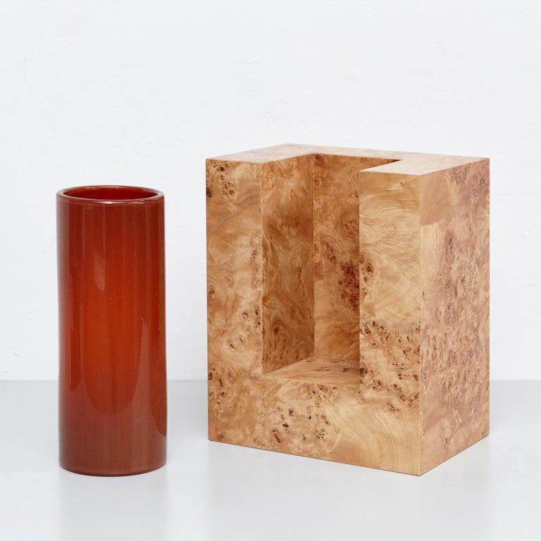 Ettore Sottsass Y Limited Edition Vase in Wood and Murano Glass for Flowers For Sale 3