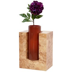 Ettore Sottsass Y Limited Edition Vase in Wood and Murano Glass for Flowers
