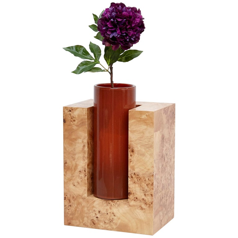 Ettore Sottsass Y Limited Edition Vase in Wood and Murano Glass for Flowers For Sale