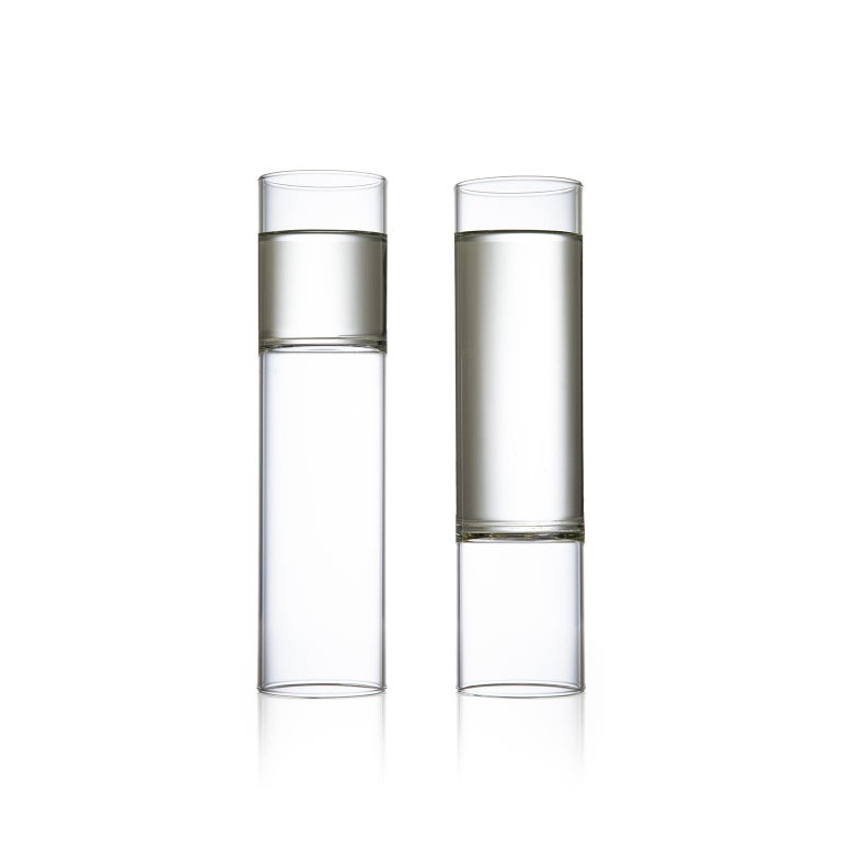 Modern EU Clients 8 Contemporary Minimal Clear Champagne Flute Glasses Czech in Stock For Sale