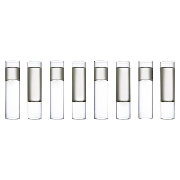EU Clients 8 Contemporary Minimal Clear Champagne Flute Glasses Czech in Stock For Sale