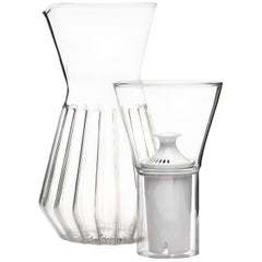 EU Clients Contemporary Czech Fluted Talise Glass Water Filter Carafe Pitcher