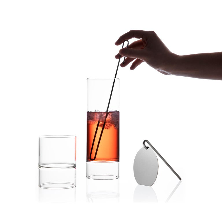Modern EU Clients Czech Glass Cocktail Set with 4 Rocks-Martini Glasses, in Stock For Sale
