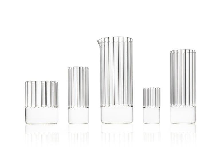 Hand-Crafted EU Clients, 'Flight' Tall Collins Glass Set, Designer Handmade Glassware For Sale