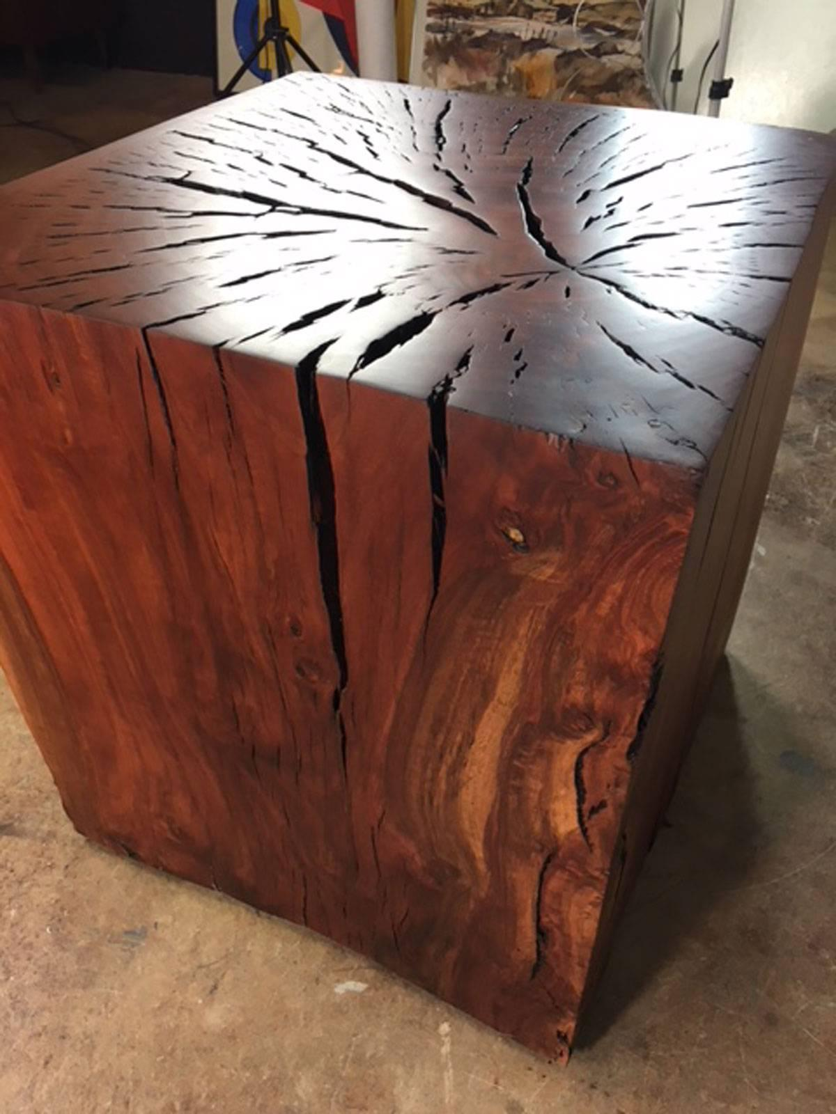 Eucalyptus Wood End Table Or Art Display Pedestal Designed And Produced By  Master Wood Artist And