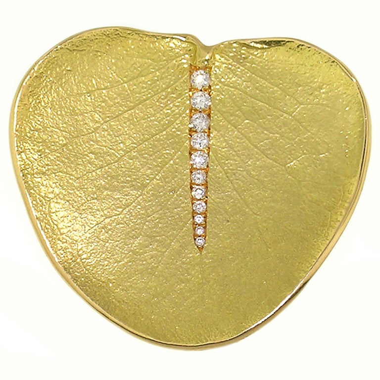 Contemporary 18 Karat and Diamond Eucalyptus Leaf Pendant and Brooch For Sale