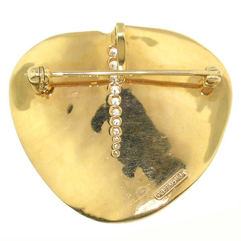 Round Cut 18 Karat and Diamond Eucalyptus Leaf Pendant and Brooch For Sale