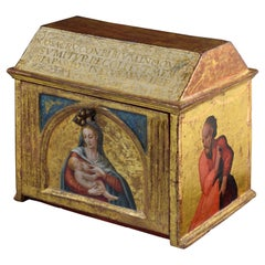 Eucharistic Chest, Carved and Polychrome Wood, Spain, 16th Century