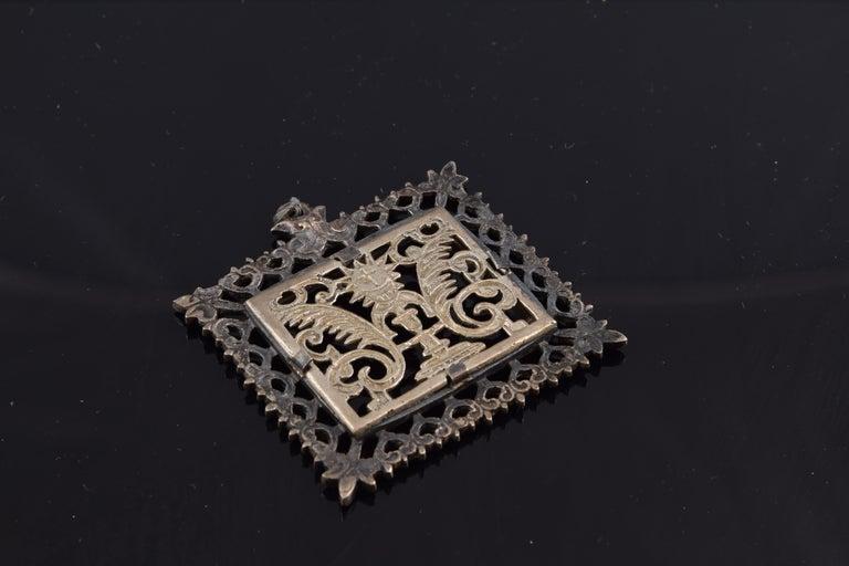 Baroque Eucharistic Devotional Pendant, Metal, Spain, 17th Century For Sale
