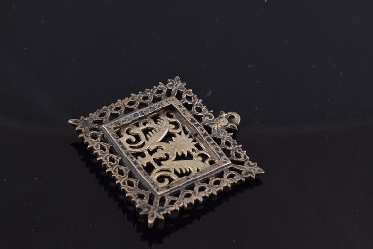 Spanish Eucharistic Devotional Pendant, Metal, Spain, 17th Century For Sale