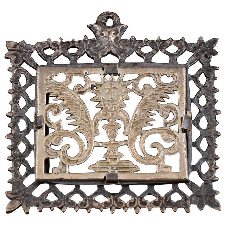 Eucharistic Devotional Pendant, Metal, Spain, 17th Century For Sale