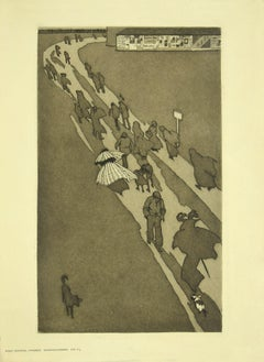 The Exodus - Original Etching by Eugen Kirchner - Early 20th Century