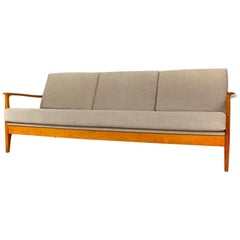 Eugen Schmidt Cherrywood Three-Seat Sofa Daybed for Soloform, 1960s