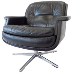 Eugen Schmidt Black Leather Lounge Chair, Boardroom of Krupp Mid-Century modern