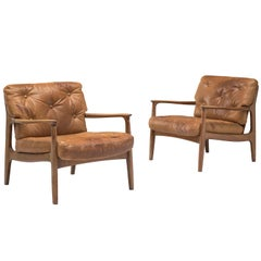 Eugen Schmidt Pair of Easy Chairs in Cognac Patinated Leather