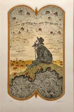 """Jewish Shtetl Wanderer"" Post Soviet Judaica Etching Hand Colored"