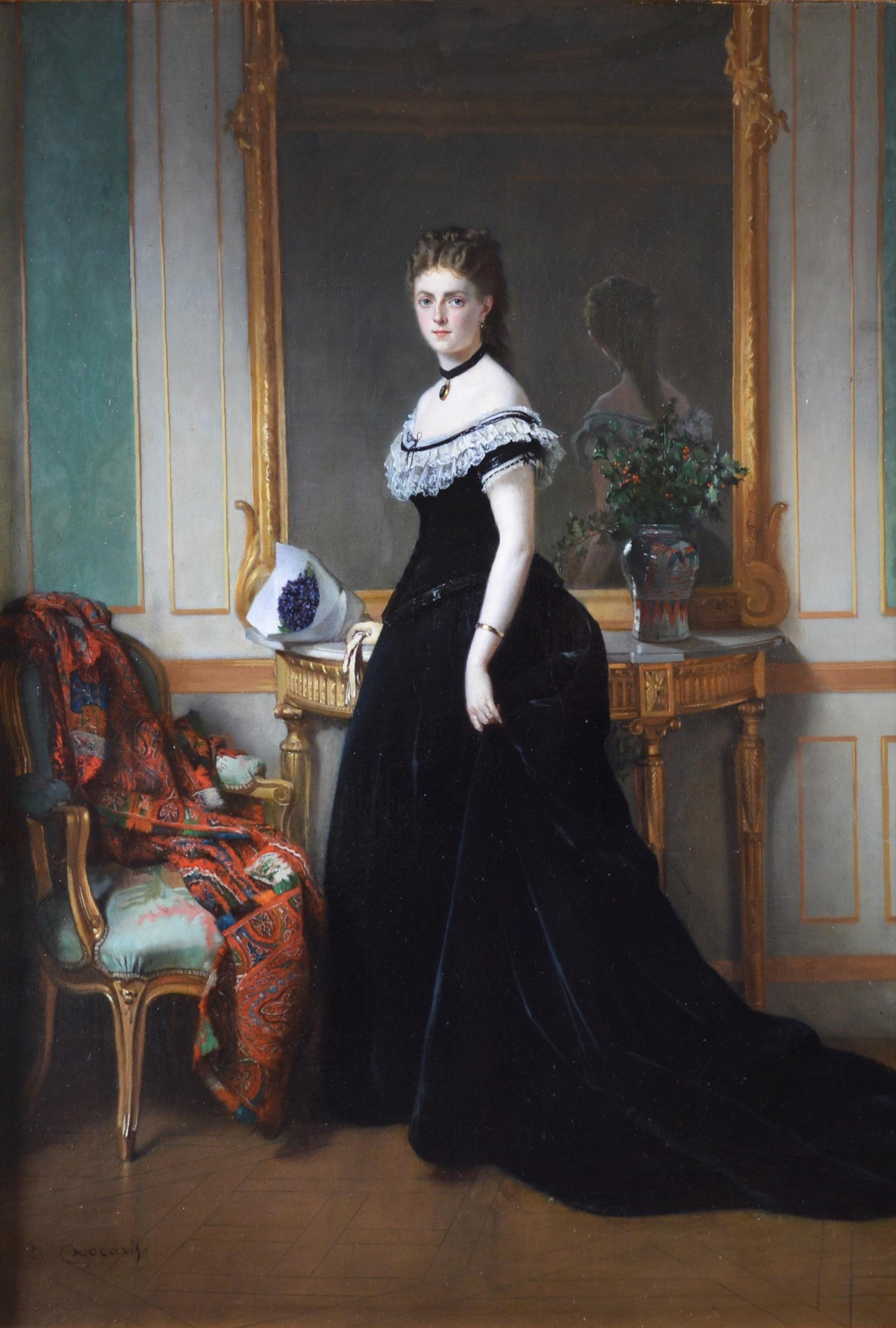 La Femme en Noir - Large 19th Century French Belle Epoque Oil Painting Portrait