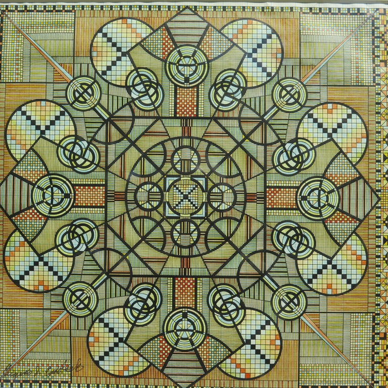 Eugene Andolsek was a self-taught artist who created intricated geometric drawings using colored inks on graph paper. He worked at his kitchen table after work at the Rock Island Railroad using a compass and a straight edge. He was able to get