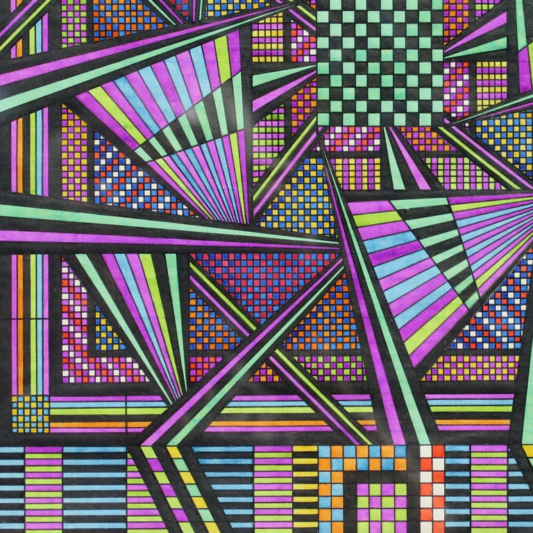 Eugene Andolsek (1921-2008) was a self -taught artist from Pennsylvania who created kaleidoscopic pictures much of his life in secret. He did his drawings at the kitchen table to relieve his unhappiness with his job and his anxiety of losing that