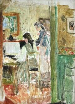 Au Piano en Bonne Compagnie - 19th Century Oil, Figures in Interior by Durenne