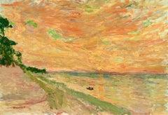 Coucher De Soleil - 1898 - Post Impressionist Oil, Seascape by Eugene Durenne