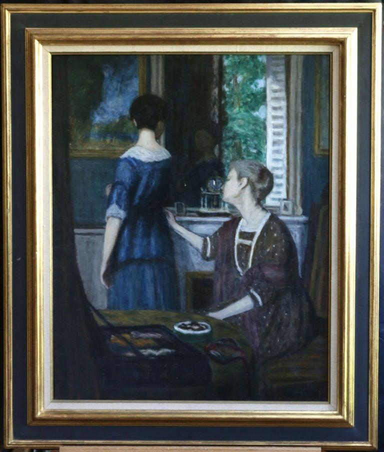 La Robe Bleue - Impressionist Painting by Eugene Antoine Durenne