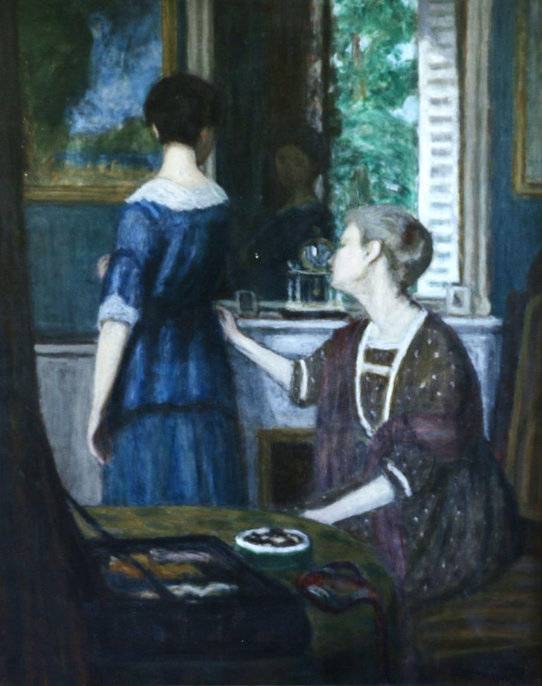 Eugene Antoine Durenne Interior Painting - La Robe Bleue