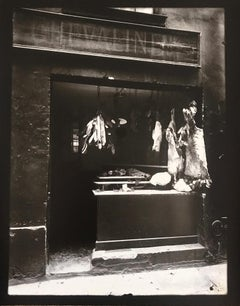 Boucherie, rue Christine, Printed by Berenice Abbott, French Photography
