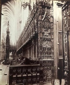 Stalles du choeur, Cathédrale d'Amiens, 19th Century French Photography by Atget