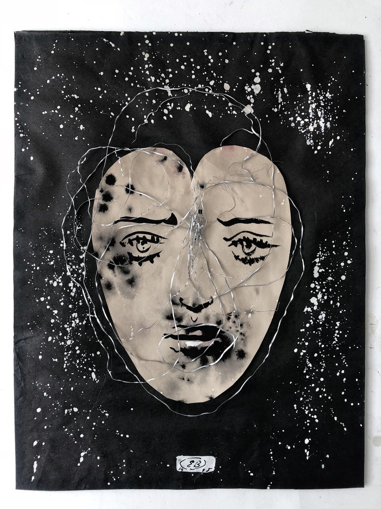 This haunting image by Eugene Berman was painted on a sheet of paper cut in the shape of a heart, mounted to a paint-speckled ground, encircled with metal shavings, and placed in a frame of the artist's own devising. Berman wrote the title,