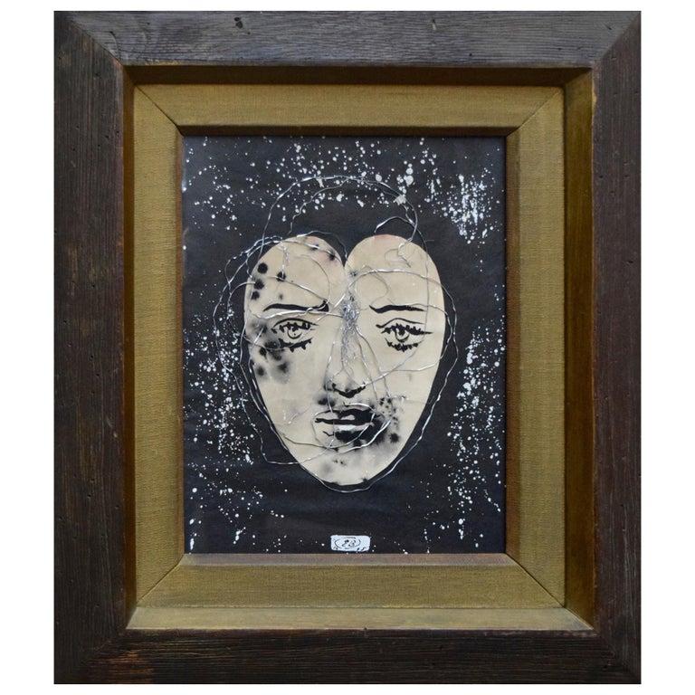 Eugene Berman Collage in Original Frame For Sale