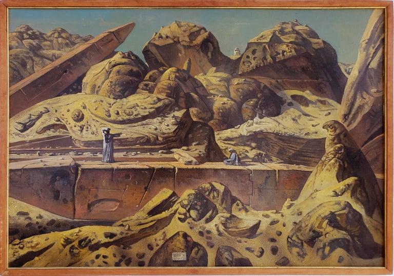 Egypt Aswan Desert Landscape with Two Obelisks - Painting by Eugene Berman