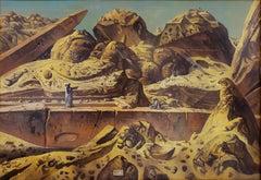 Egypt Aswan Desert Landscape with Two Obelisks