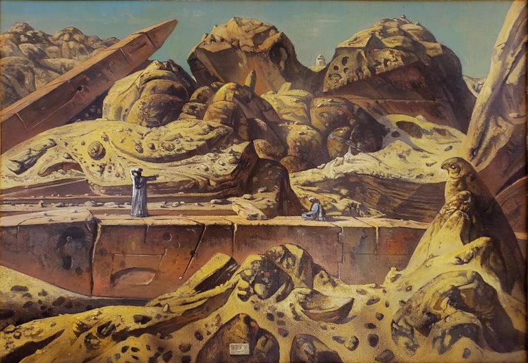 Eugene Berman Figurative Painting - Egypt Aswan Desert Landscape with Two Obelisks