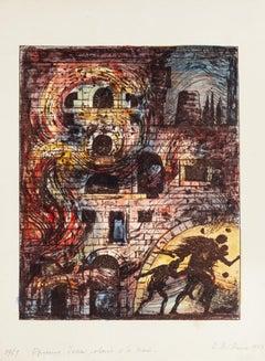 Escape from Troy - Original Lithograph by Eugène Berman - 1967