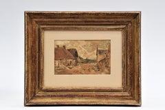 Village landscape - French Artist Impressionism Watercolor Pencil Houses