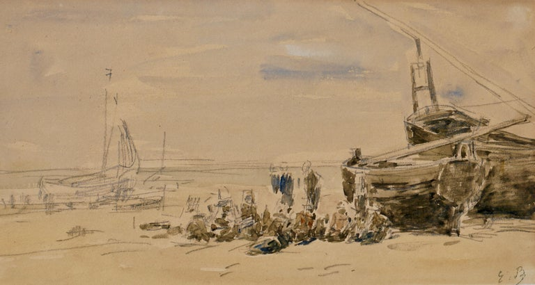 A wonderful beach or plage scene from Eugene Boudin during the low tide (maree basse) near Berck in the Northern tip ofNormandy. Boudin did most of his beach scenes in Dauville, Trouville and Honfleur with rarer ones of Fisherman and beached boats