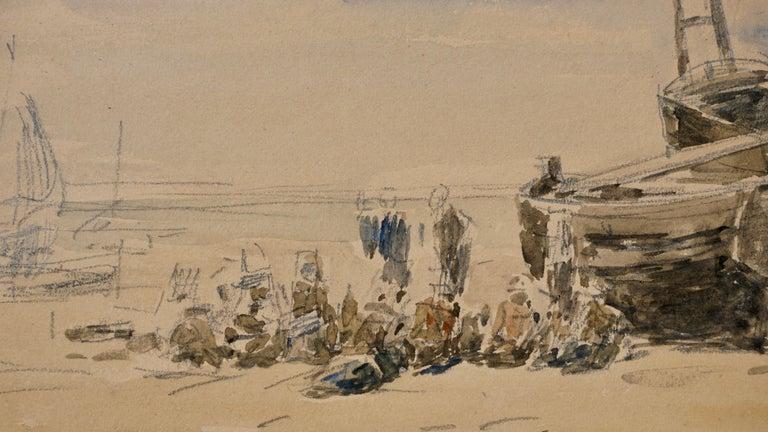 Hand-Painted Eugene Boudin Berck Scene De Plage For Sale