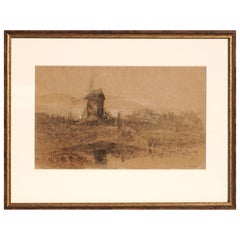 """Eugene Boudin Drawing """"Moulin Du Perry"""" Mixed-Media Painting"""