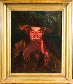 Le Fumeur - Symbolist Oil, Portrait of Gentleman Smoking by Eugene Carriere