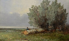 """Edge of the Meadow,"" Eugene Ciceri, oil, realist, France, Barbizon, landscape"
