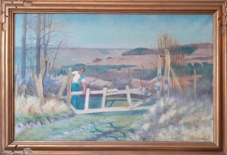 Large French Countryside roaming the rolling hills art deco landscape painting  - Painting by Eugene Cordier