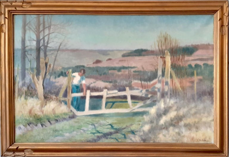 Eugene Cordier  Figurative Painting - Large French Countryside roaming the rolling hills art deco landscape painting
