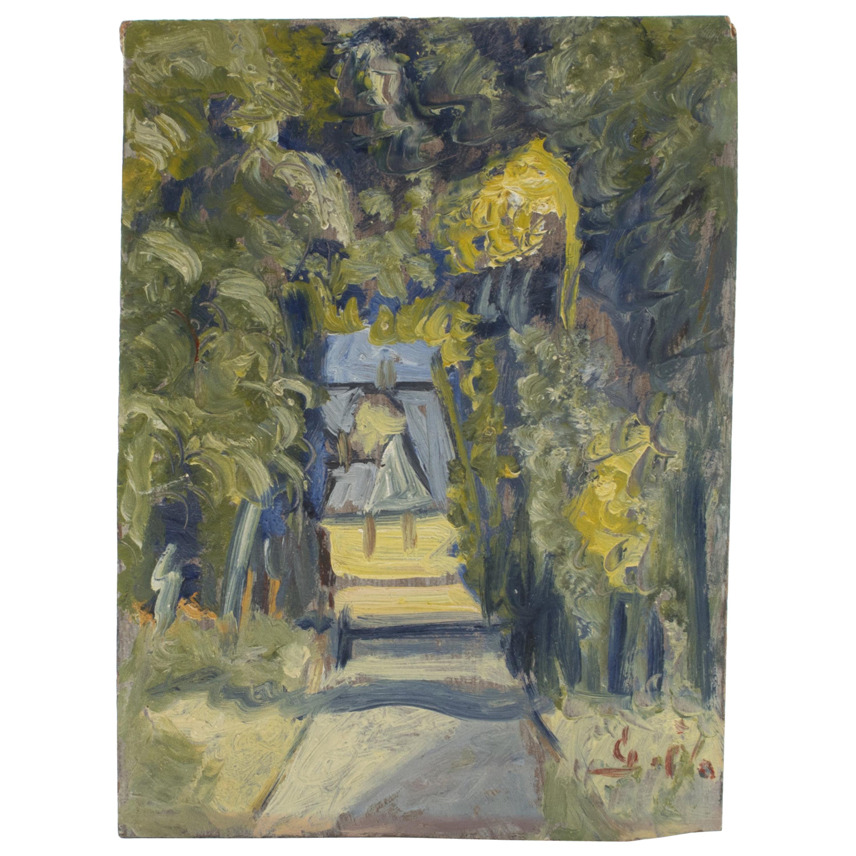 "Eugéne De Sala Mini Painting ""Girl In Park"", Oil Painting on Masonite"
