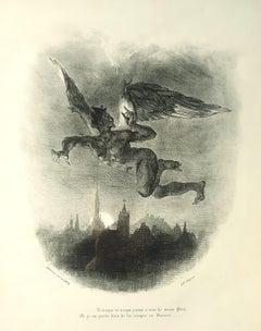 Méphistophélès Dans les Airs - Lithograph by E. Delacroix - 1828