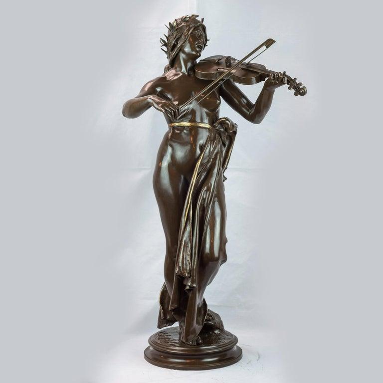 La Musique Patinated Bronze Sculpture by Delaplanche - Gold Figurative Sculpture by Eugène Delaplanche