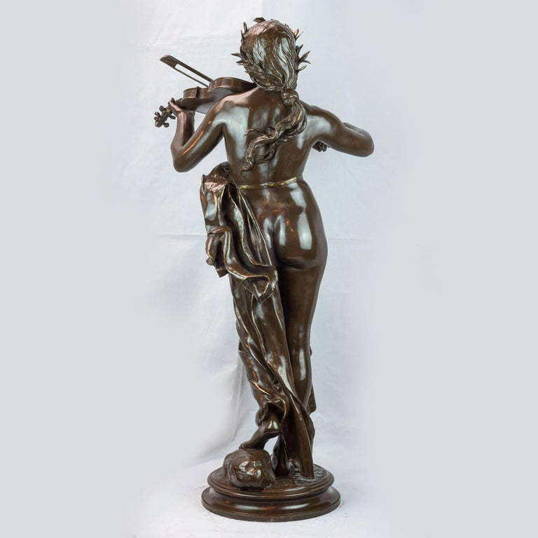 EUGÉNE DELAPLANCHE French, 1836-1891  La Musique  Signed E. Delaplanche, F.Barbedienne Fondeur     Patinated Bronze with brown patina circa 1878 Foundry Cast: Ferdinand Barbedienne (1810-1892) H 33 in. x W 14.50 in. x D 16 in.     Catalog