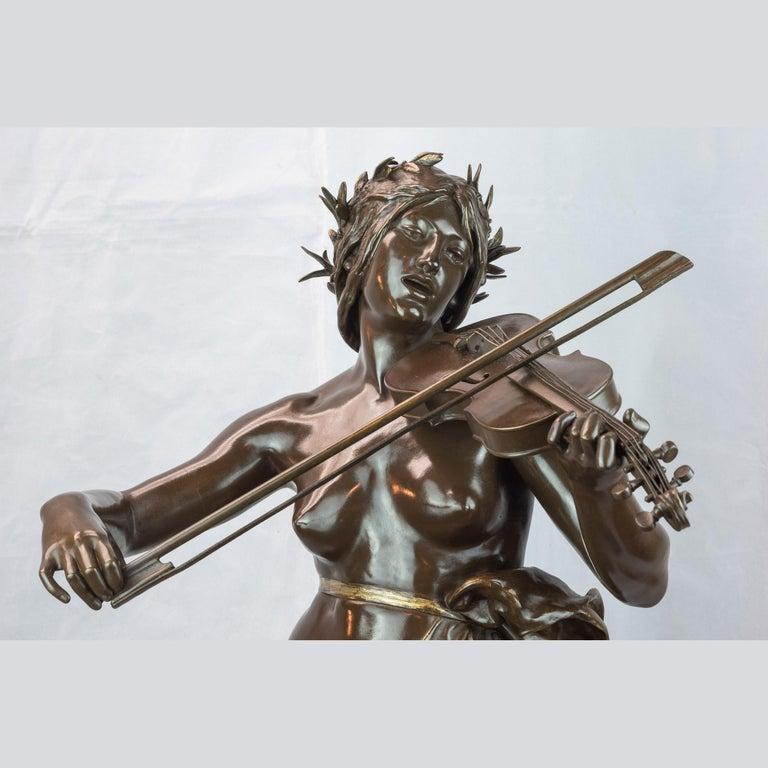 La Musique Patinated Bronze Sculpture by Delaplanche For Sale 1