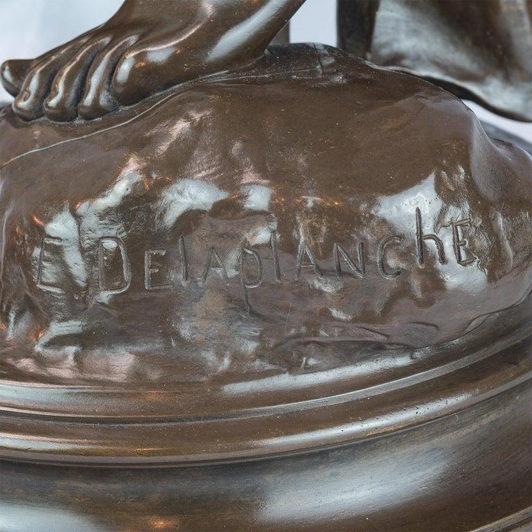 La Musique Patinated Bronze Sculpture by Delaplanche For Sale 4