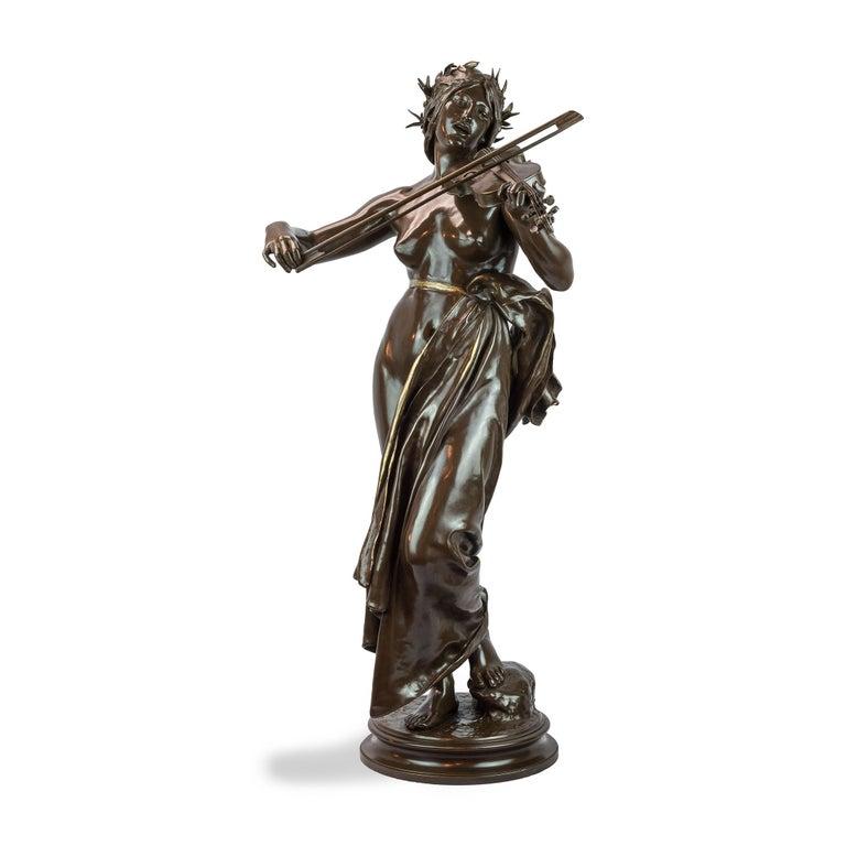 Eugène Delaplanche Figurative Sculpture - La Musique Patinated Bronze Sculpture by Delaplanche